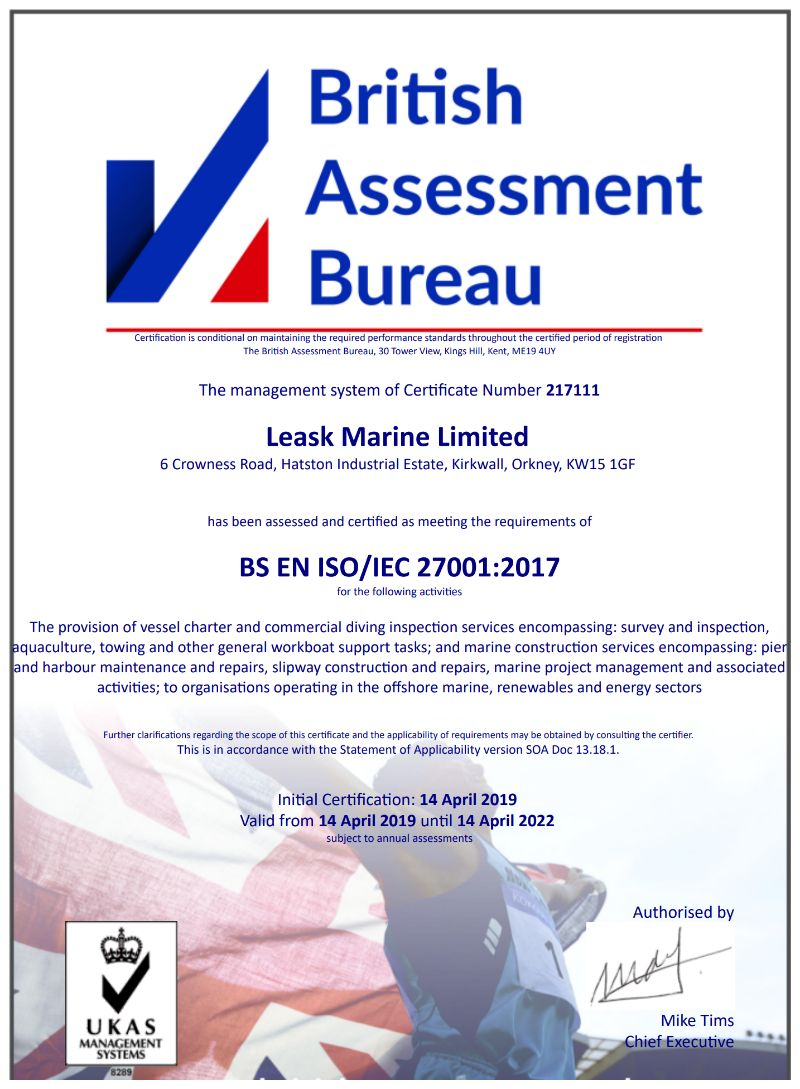 Leask Marine Achieves ISO 27001:2017 Information Security Management Systems Accreditation