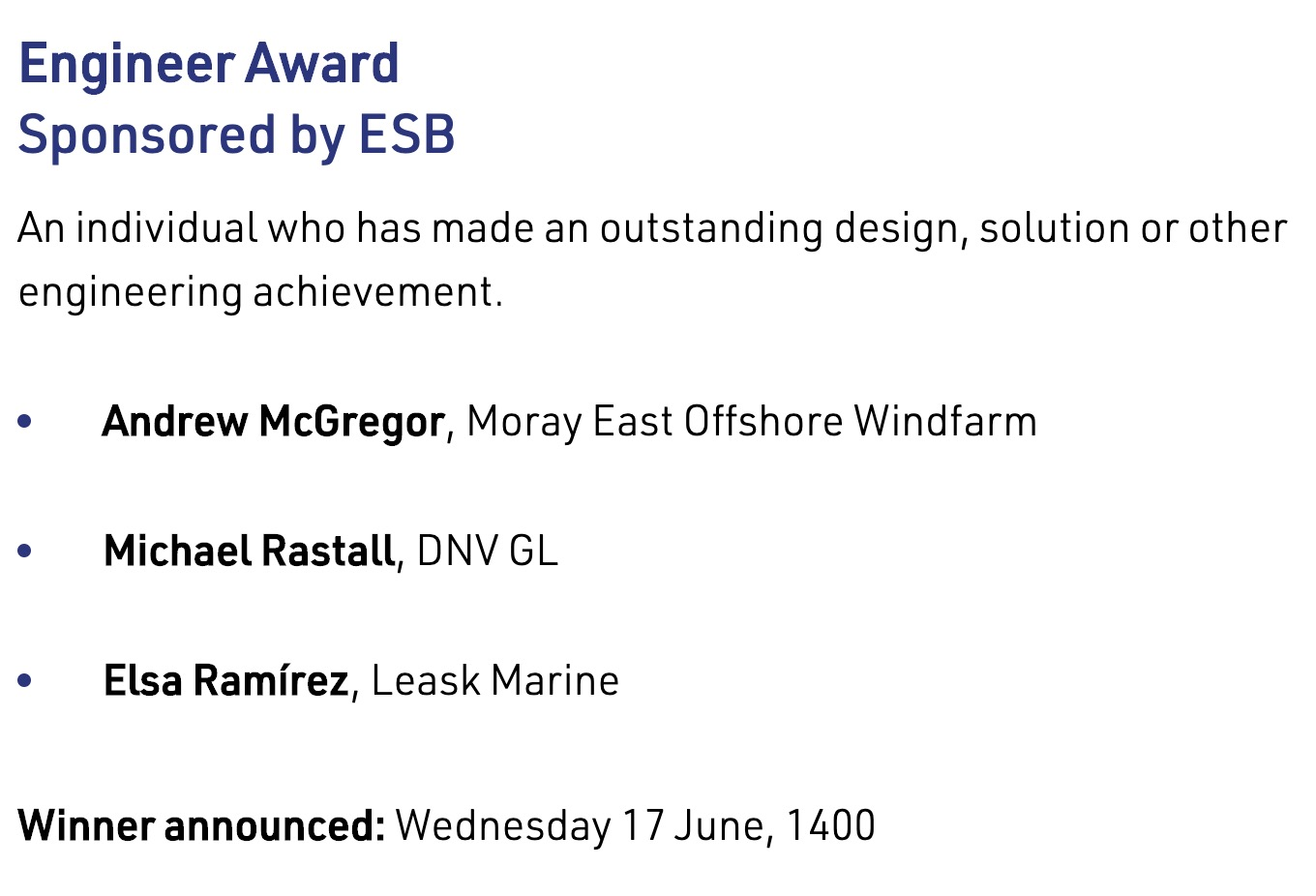 Leask Marine engineer - Finalist in Scottish Renewables Young Professionals Green Energy Awards