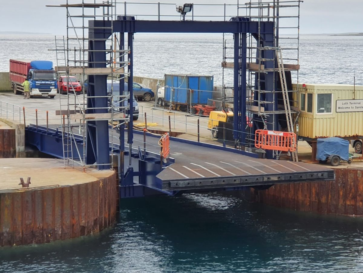Leask Marine complete shot blasting & painting of Sanday Linkspan for Orkney Islands Council